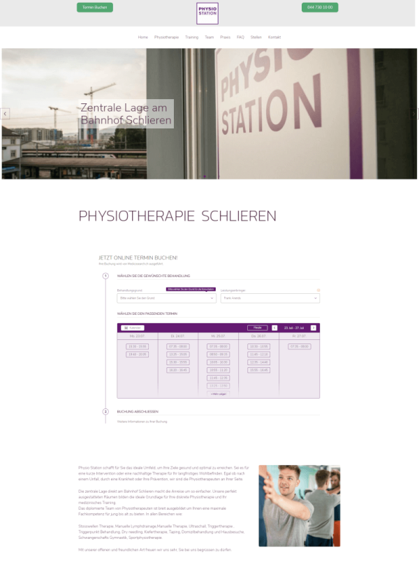 Webdesignagentur in Zürich Website Design für Physio Station`